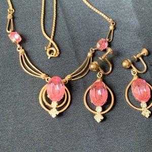 Vintage12K Gold Filled Pink Rhinestones Necklace